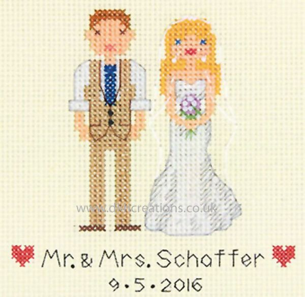 Bride & Groom Wedding Record Cross Stitch Kit